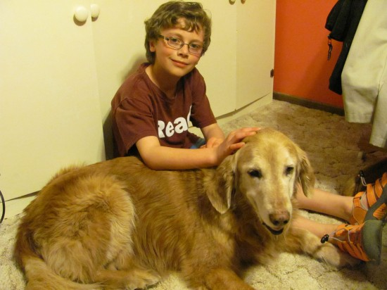 Young Gavin and Charlie the dog (not my husband) sitting in Papa's study. I love Gavin's T-shirt -- it says READ.