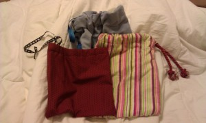 Three more cute little drawstring bags I made.