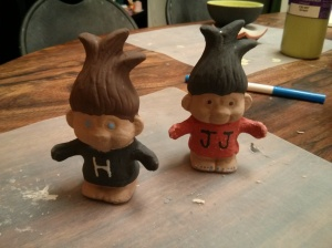 I haven't talked much about All Glazed Up, a paint your pottery place, in awhile. Since buying a new car and splurging on more expensive clothes, I've had to make some cutbacks in some areas. Anyway, my co-workers and I decided to paint some super cute and fun troll figurines.