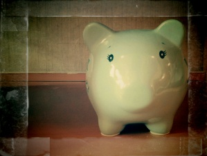 Lately, I've been snapping some random or abstract photos with my phone and then fiddling around with the edit features. Out of the numerous random shots, I fell in love with two photos after the edit stage. I saw the cute piggy bank sitting on the bottom shelf of a fake baby changing station and quickly snapped the shot. I have no good reason to offer on why I love this photo so much. I just love it.
