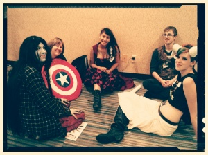 Even superheroes and villains become tired after a long day of standing in line, posing for pictures, and fighting crime. I love this picture because the group of friends were so exhausted by the end of the first day and just sank to the floor to sit and talk. I think they relieved I didn't make them stand up again for the photo.