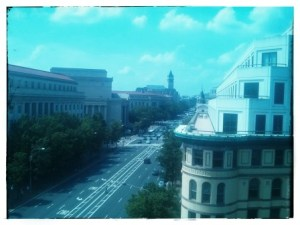 The view from the sixth floor in Newseum.