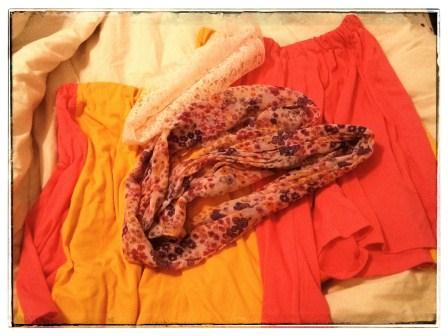 IS THE SCARF TOO BUSY FOR MY NEW COLOR-BLOCK SKIRTS?