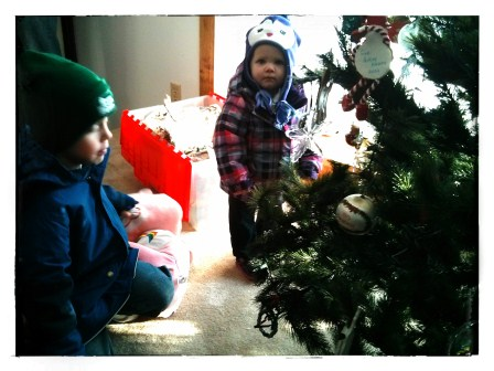 COLE AND SHELBY ADMIRING PAPA'S CHRISTMAS TREE