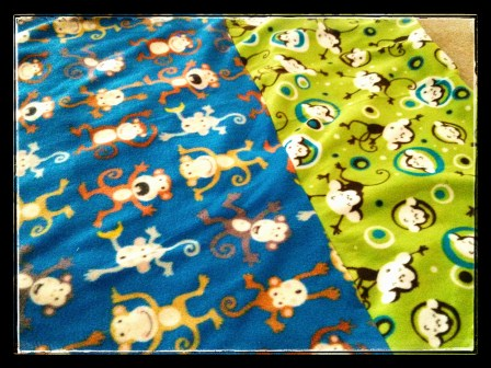 TATE'S QUILLOW: For my nephew's quillow, I knew I needed fleece with monkeys because he loves loves loves monkeys. Unfortunately, my favorite fabric store didn't carry boyishly monkey fleece. The monkey fleece I found were better suited for girls. Without monkey fleece, I had no idea what else Tate would like.