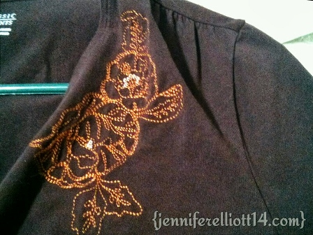 I WANTED TO SAVE THE SHIRT BECAUSE I LOVE THE EMBROIDERY PATTERN.