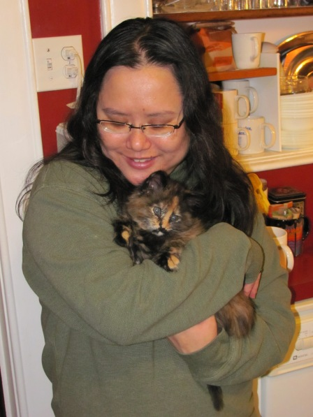 THE ONE AND ONLY TIME I COULD EVER HOLD LUCY -- A TIME WHEN SHE DIDN'T HATE EVERYONE IN SIGHT.