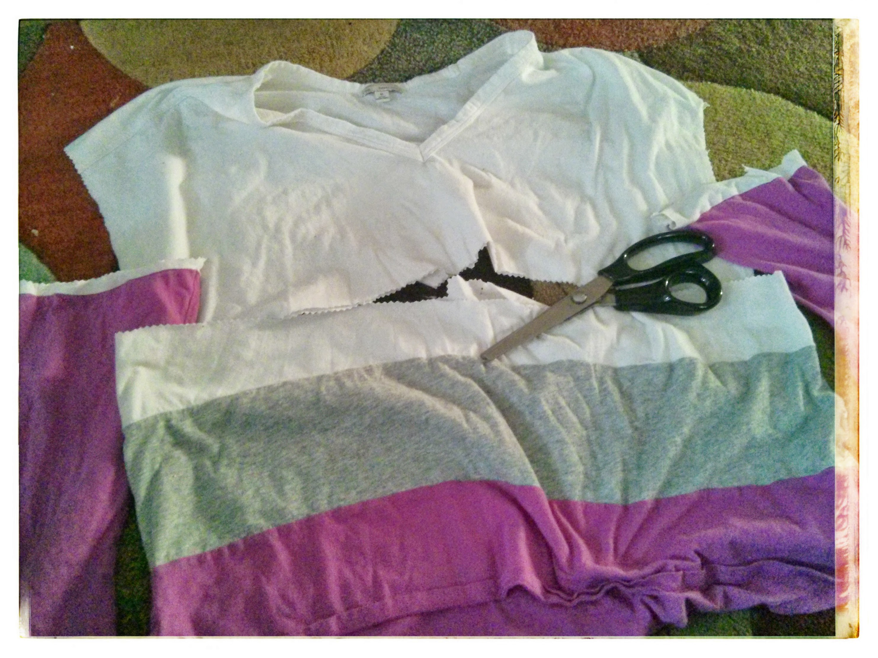 Shirt refashion more color block jennifer elliott for How to get spaghetti sauce out of a white shirt